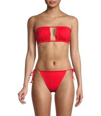 weworewhat women's tie-back ruched bandeau bikini top - black - size s