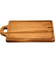 tábua para churrasco tramontina retangular em madeira muiracatiara com acabamento envernizado com alça 33 x 20 cm