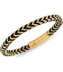 esquire men's jewelry nylon cord statement bracelet in gold ion-plated stainless steel or stainless steel, created for macy's