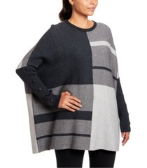 joseph a colorblocked button-trim poncho