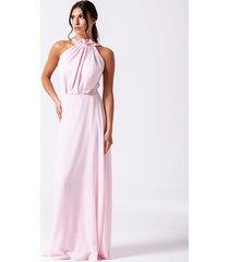 shanti - jasnoróżowa, długa sukienka