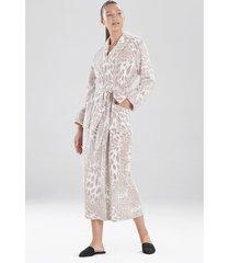natori plush leopard sleep/lounge/bath wrap/robe, women's, silver, size m natori