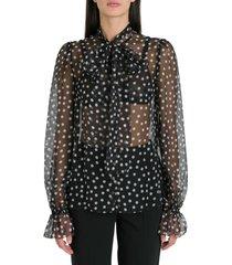 dolce & gabbana polka dots chiffon blouse