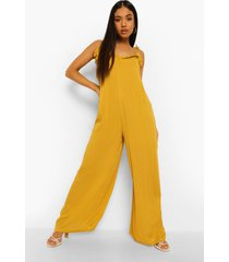 petite wide leg jumpsuit met bandjes, mustard