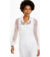 alfani petite sheer button-up shirt, created for macy's