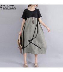 zanzea summer women oversized loose plus size stiching patchwork manga corta lino algodón midi dress casual retro party beach baggy tunic kaftan vestido green -verde