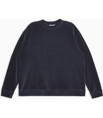 mens navy corduroy and velour sweatshirt