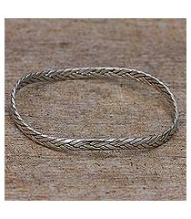sterling silver bangle bracelet, 'braided roundup' (indonesia)