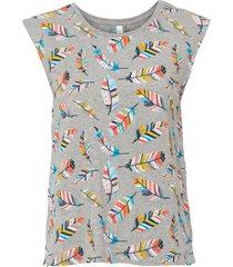 top in jersey con fantasia di piume (grigio) - rainbow