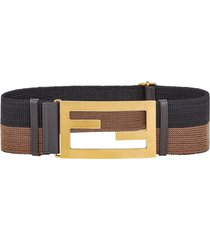 fendi elastic baguette buckle belt - brown