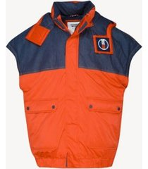 tommy hilfiger men's oversized hooded vest flame scarlet / dark indigo -