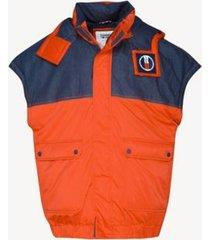 tommy hilfiger men's oversized hooded vest flame scarlet / dark indigo -