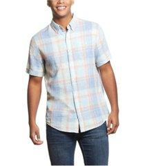 men's plaid short sleeves shirt