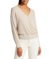 l'agence women's amber ribbed long-sleeve wrap top - oat meal - size m