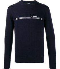 a.p.c. slim-fit logo pullover - blue