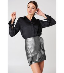 glamorous metallic frill skirt - silver