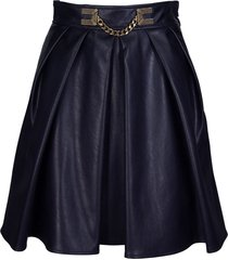 elisabetta franchi celyn b. faux leather circle skirt with gold detailing