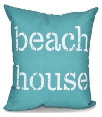 beach house 16 inch teal decorative word print throw pillow