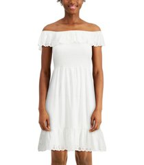 almost famous juniors' eyelet-ruffled smocked dress