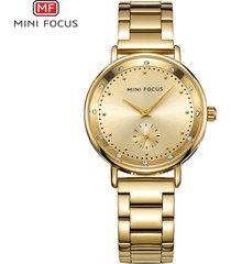 mini focus / 0037l / reloj para mujer / moda / doble-dorado