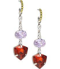 dannijo women's silverplated & glass crystal dangle earrings