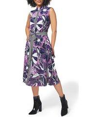 women's leota mindy print midi dress, size small - purple