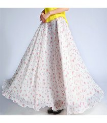 summer floral maxi skirt women white flower maxi chiffon long skirt beach skirt