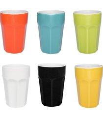 conjunto de 6 copos grandes 300ml coloridos