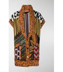 missoni contrast-panel knitted coat