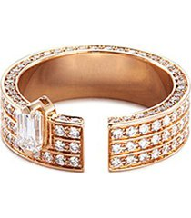 'disruptive' diamond 18k rose gold three tier ring