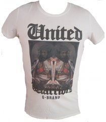 g-brand stretch t-shirt off white met strass