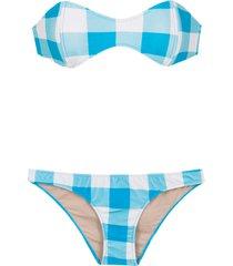 adriana degreas checked sleeveless bikini set - blue