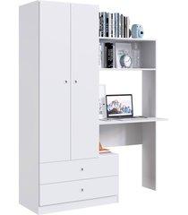 quarto compacto c/ roupeiro e estação de trabalho ilhéus branco artinmóveis