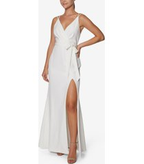 laundry by shelli segal faux-wrap gown