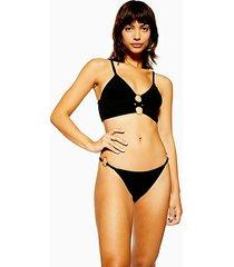 black velour tanga bikini bottoms - black