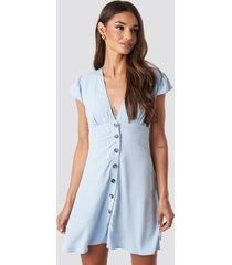 na-kd button up mini dress - blue