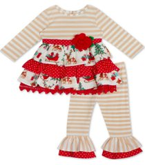 rare editions baby girls 2-pc. tiered top & leggings set
