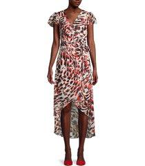 julia jordan women's flutter-sleeve printed faux-wrap dress - ivory - size 16