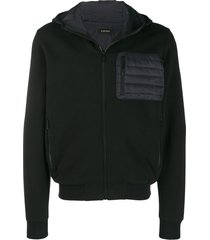 z zegna quilted hooded sweatshirt - black