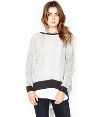 fred sweater cape - xs/s creme charcoal