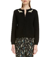 women's erdem imitation pearl beaded cable knit cashmere cardigan, size x-large - black