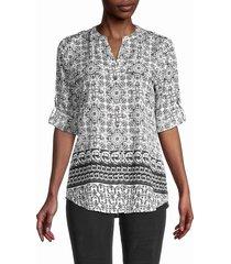 calvin klein women's roll-sleeve print shirt - black soft white - size s