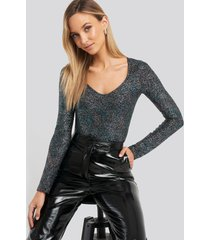trendyol glitter long sleeve body - multicolor