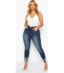 plus stretch high waist ripped skinny jeans, dark blue