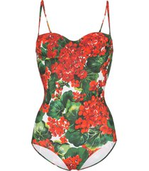 dolce & gabbana portofino print one-piece swimsuit - red