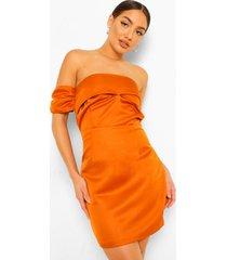 gedrappeerde mini jurk met open schouders, copper