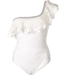 missoni mare ruffled one-shoulder swimsuit - white