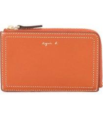 agnès b. zip around card holder wallet - brown