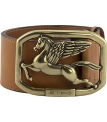 etro leather belt asta with pegaso buckle