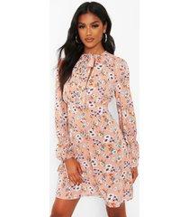 gesmokte bloemenprint jurk met strik, blush